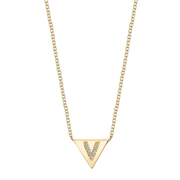 Single Initial Pave Triangle Necklace | Naomi Gray Jewelry