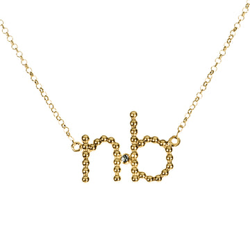 Custom Beaded 2 Initial Diamond Necklace | Naomi Gray Jewelry