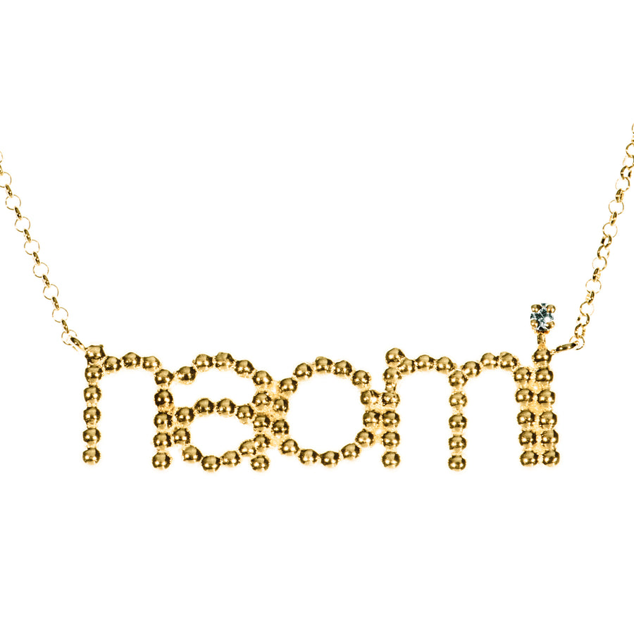 Custom Beaded Name & Diamond Necklace | Naomi Gray Jewelry
