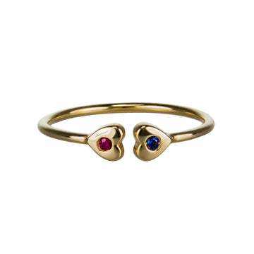 Custom Birthstone Double Heart Cuff Ring | Naomi Gray Jewelry