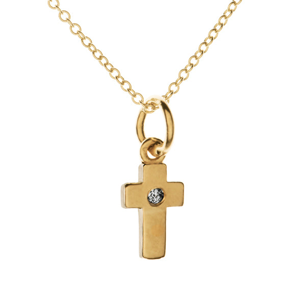 Tiny Faithful Cross Diamond Necklace | Naomi Gray Jewelry