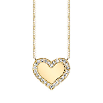Custom Pave Heart (engraving optional) Necklace | Naomi Gray Jewelry