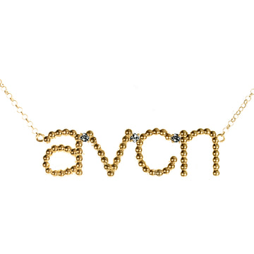 Custom Beaded 4 Initial Diamond Necklace | Naomi Gray Jewelry