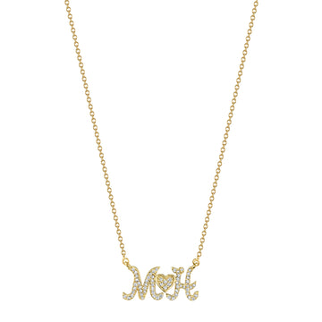 Pave Diamond Script Initial Necklace with Heart