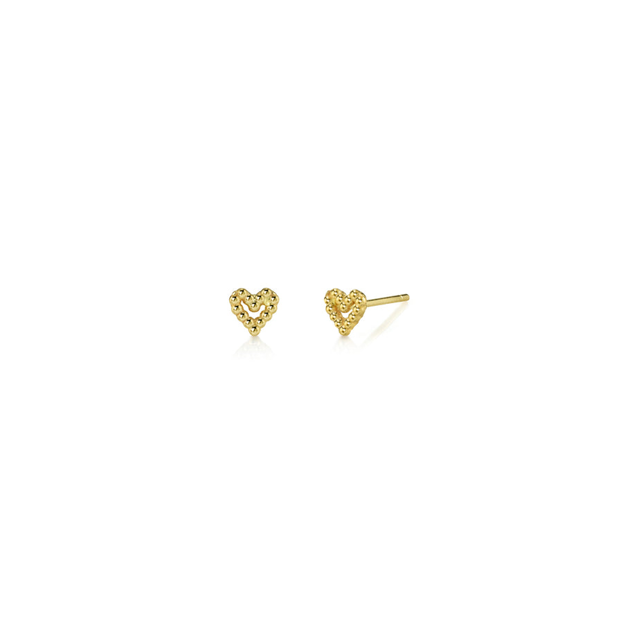 Tiny Beaded Heart Studs