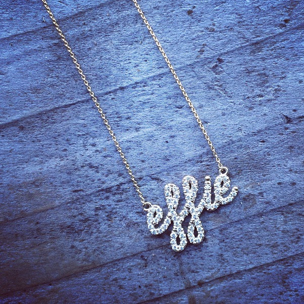 Custom Diamond Covered Dainty Name Necklace | Naomi Gray Jewelry