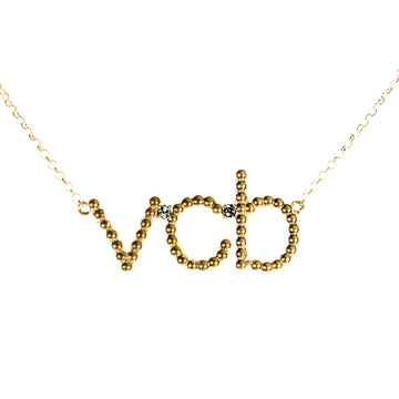 Custom Beaded 3 Initial Diamond Necklace | Naomi Gray Jewelry