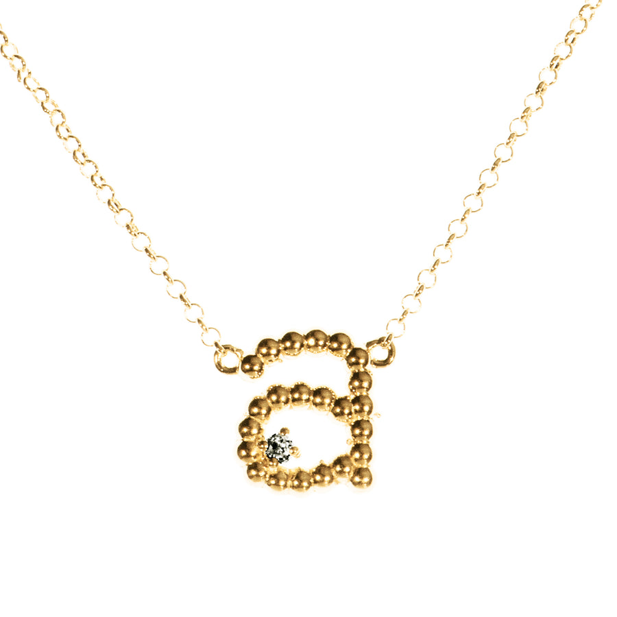 Custom Beaded Single Initial Diamond Necklace | Naomi Gray Jewelry