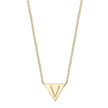 Single Initial Engraved Triangle Necklace | Naomi Gray Jewelry