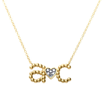 Custom Beaded Initial Necklace with Pave Heart | Naomi Gray Jewelry