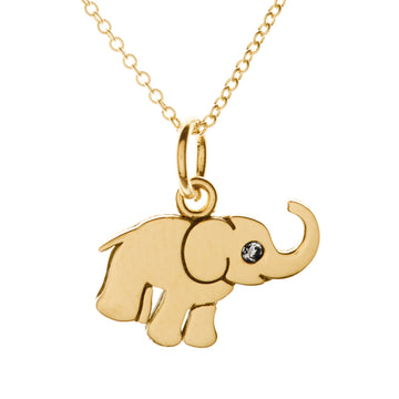 Tiny Lucky Elephant Diamond Necklace | Naomi Gray Jewelry