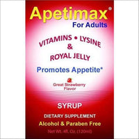 Apetimax Vitamins Lysine Royal Jelly Promotes Appetite Syrup for Adults 4 oz - Health and Cosmetics