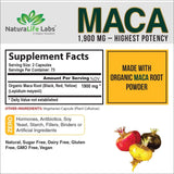 Organic Maca Root Black Red Yellow 1900 MG per Serving - 150 Vegan Capsules Peruvian Maca Root Gelatinized 100% Pure Non-GMO