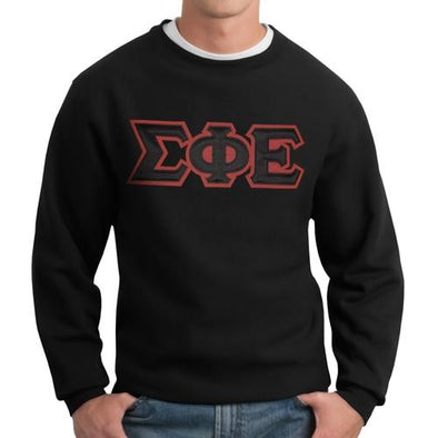 Fraternity Crew Neck Sweatshirt with Sewn On Letters