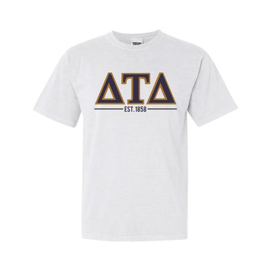 Fraternity White Comfort Colors Greek Letter Tee