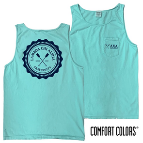 Fraternity Lagoon Blue Comfort Colors Pocket Tank