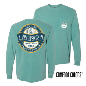 Clearance! Fraternity Faded Green Comfort Colors Long Sleeve Pocket Tee