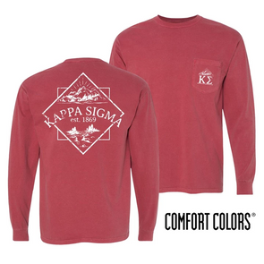 Fraternity Crimson Comfort Colors Long Sleeve Pocket Tee