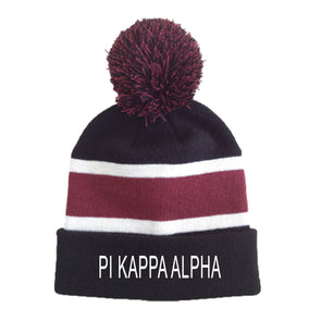 Fraternity Striped Pom Beanie