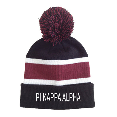 New! Fraternity Striped Pom Beanie