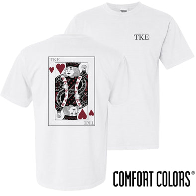 New! Fraternity Comfort Colors White King of Hearts Short Sleeve Tee