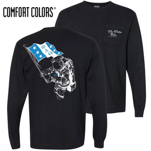 New! Fraternity Comfort Colors Black Astronaut Long Sleeve Pocket Tee
