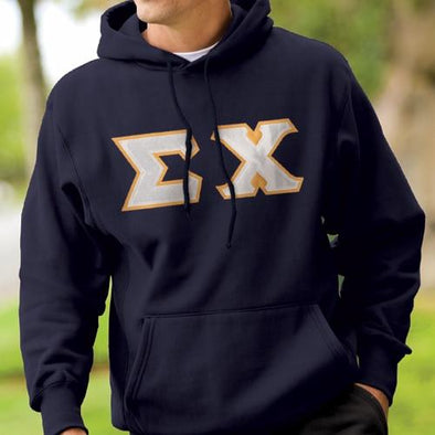Fraternity Navy Hoodie with Sewn On Letters