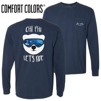 New! Fraternity Comfort Colors Navy Let's Ride Long Sleeve Pocket Tee