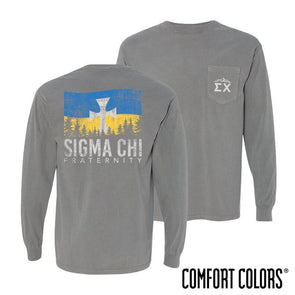 Fraternity Gray Comfort Colors Flag Long Sleeve Pocket Tee