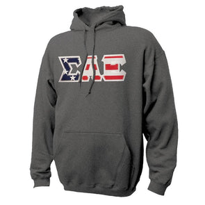Fraternity Stars & Stripes Sewn On Letter Hoodie