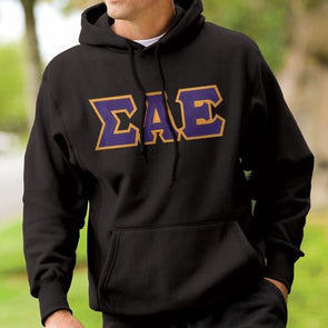 Fraternity Black Hoodie with Sewn On Letters