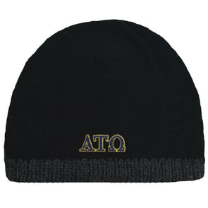 Clearance! Fraternity Black Knit Beanie with Fleece Lining