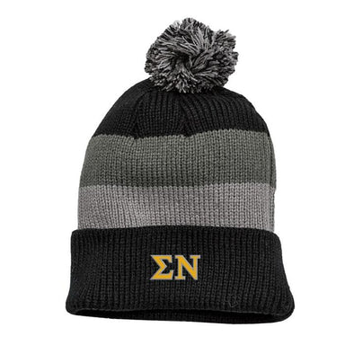 Fraternity Striped Knit Beanie with Removable Pom