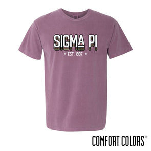 New! Fraternity Comfort Colors Short Sleeve Berry Retro Tee