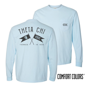 Fraternity Light Blue Comfort Colors Long Sleeve Pocket Tee