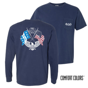 New! Fraternity Comfort Colors Short Sleeve Navy Patriot Tee