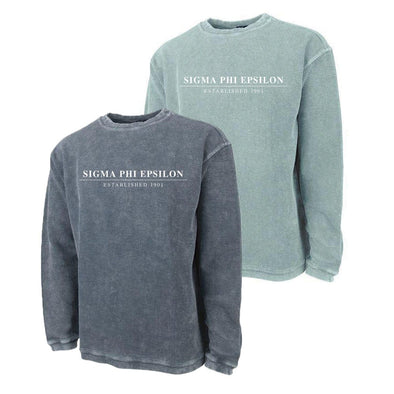 New! SigEp Charles River Corded Crew Sweatshirt