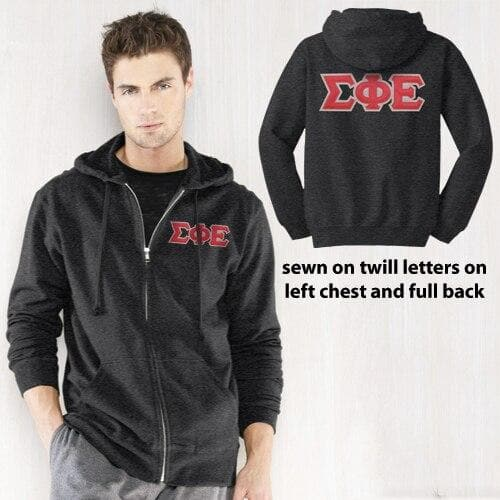 Clearance! SigEp Dark Heather Full-Zip Hoodie with Sewn On Letters