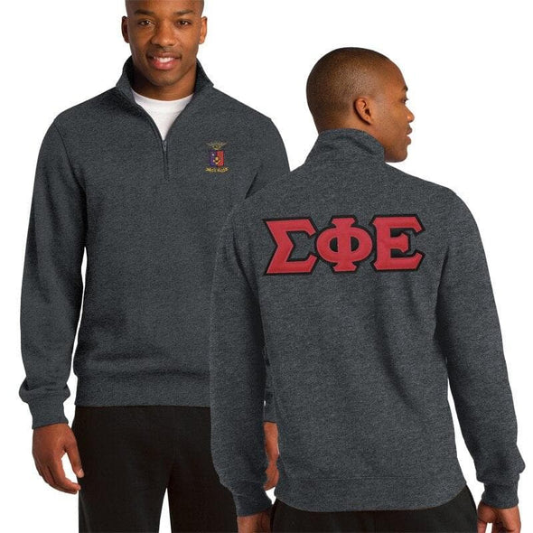Clearance! SigEp Heather Charcoal 1/4 Zip Sweatshirt with Sewn On Letters