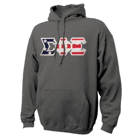 SigEp Stars & Stripes Sewn On Letter Hoodie