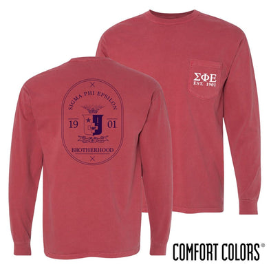 SigEp Comfort Colors Crimson Badge Long Sleeve Pocket Tee