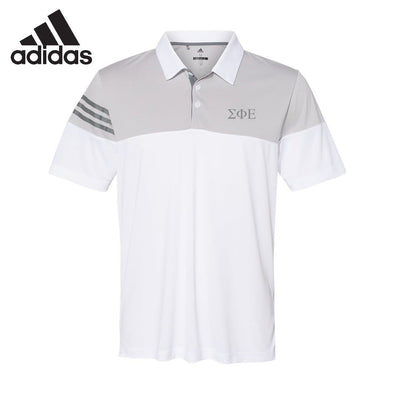 New! SigEp White Adidas Color Block Polo