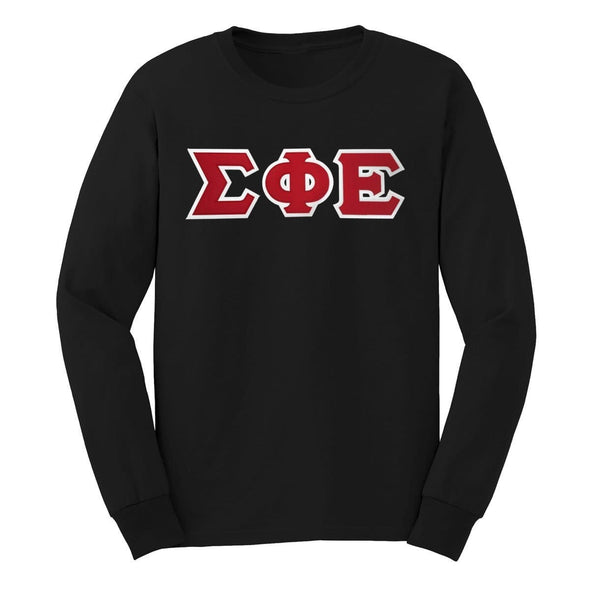 SigEp Black Sim Stitch Letter Long Sleeve Tee