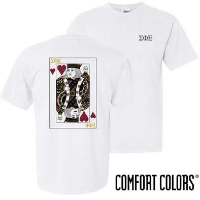 New! SigEp Comfort Colors White King of Hearts Short Sleeve Tee