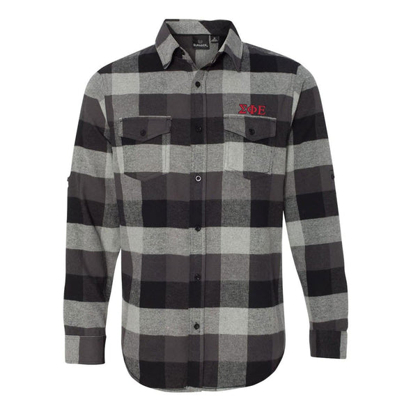Clearance! SigEp Black Plaid Flannel Shirt