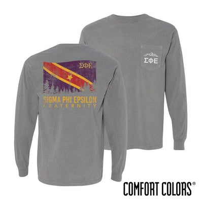 SigEp Gray Comfort Colors Flag Long Sleeve Pocket Tee
