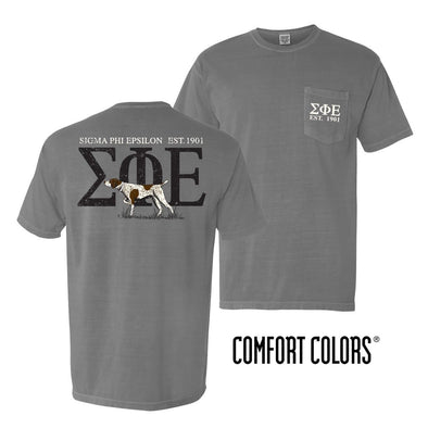 SigEp Gray Comfort Colors Pocket Tee