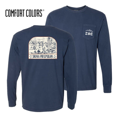 New! SigEp Comfort Colors Long Sleeve Navy Desert Tee