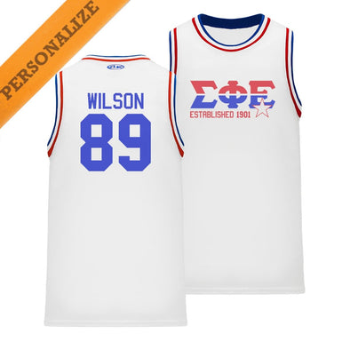 SigEp Personalized Retro Block Basketball Jersey