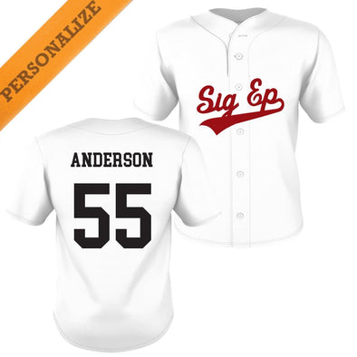 SigEp Personalized White Mesh Baseball Jersey